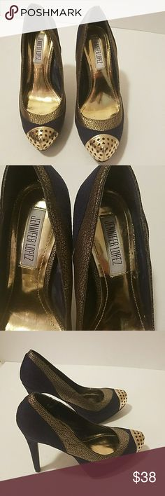 JENINIFER LOPEZ SHOES SUEDE HEELS JLO SUEDE HEELS NAVY WITH GOLD TOE AND ACCENTS Jennifer Lopez Shoes Heels