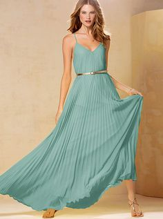 Knife-pleat Maxi Dress: pleats for George but not grandma style and only $98! And it fits my bust!!!!
