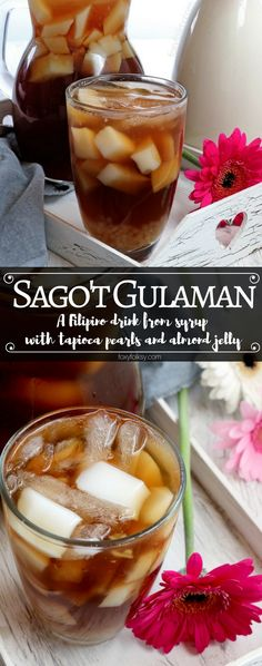 Try this Sago't Gulaman drink. A Filipino sweet beverage made from brown sugar syrup with tapioca pearls and almond jelly. Filipino Dishes, Filipino Desserts, Asian Desserts, Filipino Recipes, Filipino Food, Pinoy Recipe, Cuban Recipes, Vegetarian Recipes, Sago Recipes