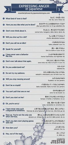 Infographic: expressing anger in Japanese part 3. http://japanesetest4you.com/infographic-how-to-express-anger-in-japanese-part-3/