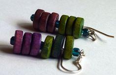 Purple and Lime Green Wooden bead earrings.. $13.00, via Etsy.