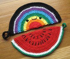 Free Crochet Potholder Patterns – Crochet — Learn How to Crochet Crochet Kawaii, Crochet Food, Crochet Kitchen, Easy Crochet, Free Crochet, Knit Crochet, Crochet Potholder Patterns, Crochet Dishcloths, Knitting Patterns