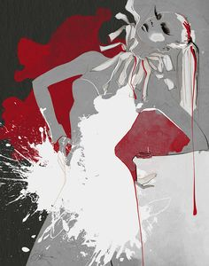 "Exclusive gallery fashion illustration print ""Lust"" / Red, charcoal and white color palette / Limited edition / Salon de Paris"