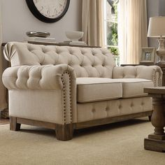 Shop for Greenwich Tufted Rolled Arm Nailhead Beige Chesterfield Loveseat by iNSPIRE Q Artisan. Get free delivery On EVERYTHING* Overstock - Your Online Furniture Store! Get in rewards with Club O! Formal Living Rooms, Living Room Sofa, Living Room Furniture, Living Room Decor, Black Furniture, Sofa Furniture, Furniture Making, Furniture Outlet, Regal Design