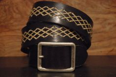 Black Leather Belt   Celtic Braided Tread SIZE by CUERO925LEATHER, €30.00