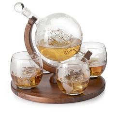 Wine Decanter Set, Whiskey Decanter, Whiskey Glasses, Shot Glasses, Whiskey Gift Set, Good Whiskey, Kelly Wearstler, Plywood Furniture, Home Bar Decor