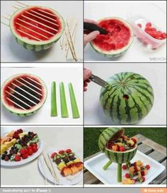 Watermelon carved to be a grill. So Cute!