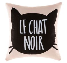 Home :: Bedroom :: Kids Bedroom :: Accessories :: Le Chat Noir Cushion Pink Black Cushions, Quilt Cover Sets, Drink Sleeves, Kids Bedroom, Personal Style, Quilts, Black And White, Mini, Marie Claire