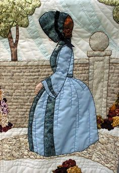 "#9 ""New Bonnet Girl Cousins"" Marjolein $6.50.  Marjolein is walking on a stone paved path in the fenced garden. Her brimmed bonnet hides her face from the sun."