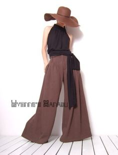 Brown Linen Cotton Wide Leg Trousers Straight Bell Bottom Pants by yystudio. If I could sew!!!