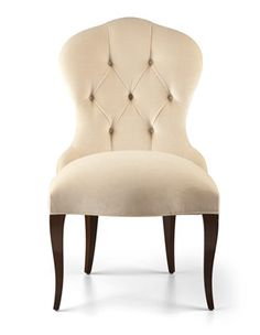 An Elegant Hour Glass Dining Chair With A Hand Stitched Tufted Back Rest Displaying Soft Silhouette Seat Width 57 Cm 22 Inches Depth 49 19