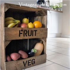 Not just fruit and veg. We can stencil wording on the front covers of our storage cubbie unit to read whatever you need. Great for use in the kitchen, batroom, garage and shed. Storage where things can't drop out! Milk Crate Bench, Wine Crate Coffee Table, Milk Crate Furniture, Etsy Furniture, Furniture Storage, Upcycled Furniture, Wooden Crates Nightstand, Wooden Crate Shelves, Diy Wooden Crate