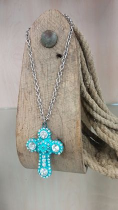 Turquoise Colored Cross with Clear Rhinestones Necklace & Earring Set