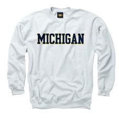 The M Den - New Agenda University of Michigan White Basic Crewneck Sweat