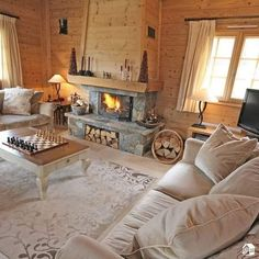 The perfect place for cold winter days. - Decoration For Home Cabin Homes, Log Homes, Casa Loft, Cabin Fireplace, Romantic Room, Farmhouse Interior, Cozy Place, House In The Woods, Cozy House