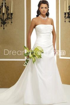 US $215.99 Concise A-Line/Princess Strapless Court Pleats Bridal Gown (3AA0282)