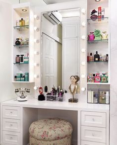 Fabulous Choosing the Right Bedroom Vanity - Fabulous Choosing the Right Bedroom Vanity Vanities, you already know these small table-cum-cabinets with the mirror on high, and benches or chairs to match, are indispensable to ladies' bedroo… , Bedroom Closet Design, Home Bedroom, Room Decor Bedroom, Diy Room Decor, Home Decor, Bedrooms, Bedroom Dressing Table, Dressing Table Design, Dressing Table Mirror
