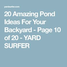 20 Amazing Pond Ideas For Your Backyard - Page 10 of 20 - YARD SURFER