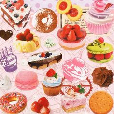 kawaii sweets stickers from Japan cake and cookies