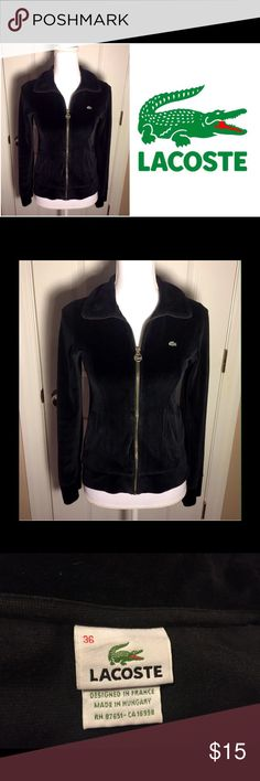 Lacoste black velour zip jacket Size 36 (women's 4). 70% cotton and 30% polyester. Gently used. Lacoste Jackets & Coats