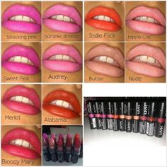 NYX lipstick shades I love pictures like this that show what the colors look like when someone's actually wearing it.