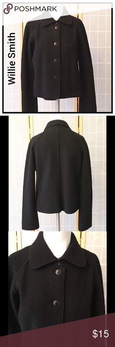 """Willi Smith Cropped Wool Jacket FIRM Beautiful classic Spring jacket. Raglan sleeves. 22"""" long. Sleeve length 17"""" from underarm. There is some slight piling. Price reflect this. Willi Smith Jackets & Coats Blazers"""