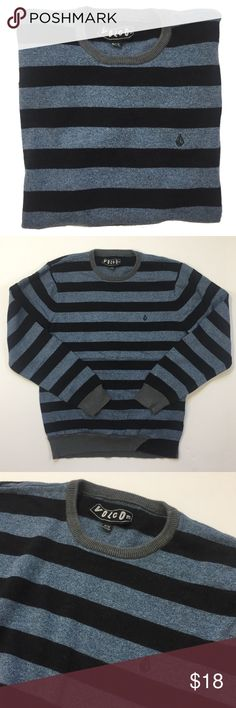 """Mens fitted crewneck sweater by VOLCOM - Size M Mens fitted crewneck sweater by VOLCOM. The fit is more like a Mens S or Boys XL. Color: Black and Blue stripes. Material: 100% Cotton. Pre-worn but in great shape. Retails for $50!  Measurements: Length - 24"""" Top of Shoulder to sleeve - 23"""" Armpit to armpit - 18"""" Volcom Sweaters Crewneck"""