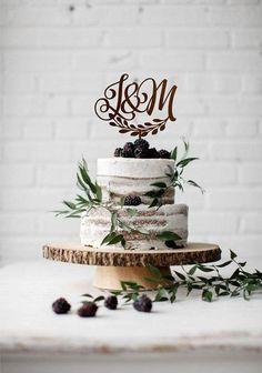 Two letters cake topper, Wedding monogram cake topper, Two initial wedding cake topper, Cake toppers for wedding, Rustic monogram, Gold