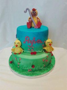 First birthday cake, chicks, duck, bear
