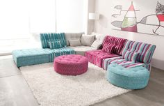 The Fully Customizable Arianne Love Sectional Sofa – Adorable Home Pink Furniture, Lounge Furniture, Cool Furniture, Modern Furniture, Floor Seating, Kids Seating, Living Room Colors, Home Living Room, Sofa Pillows