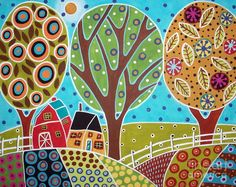 Barn Trees And Garden Painting  - Barn Trees And Garden Fine Art Print