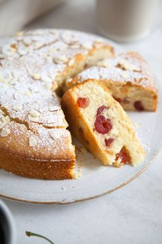 Cherry and Almond Cake. Sweet perfectly moist cherry and almond cake - vegan and gluten free Gluten Free Cakes, Gluten Free Baking, Gluten Free Desserts, Vegan Desserts, Vegan Gluten Free, Gluten Free Recipes, Baking Recipes, Cake Recipes, Vegan Recipes