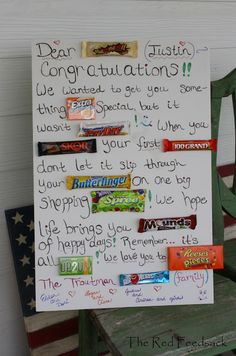 The Red Feedsack: Candy Bar Greeting! Birthday Candy Posters, 60th Birthday Cards, 16th Birthday, Diy Birthday, Birthday Wishes, Birthday Parties, Birthday Cake, Candy Poster Board, Candy Board
