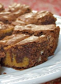 Chocolate Pumpkin Brownies #recipe