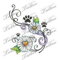 Marketplace Tattoo Daisies and paw prints #12502 | CreateMyTattoo.com