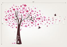 Cherry Blossom Tree Wall Decal – Tree with Birds – evgie