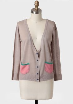 Blairstown Colorblocked Cardigan In Taupe at #Ruche @Ruche pockets are kind of cute!!