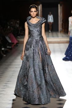 Slate Grey Off the Shoulder Gown with a Side Slit - Fall Winter 2015/16 | Tony Ward