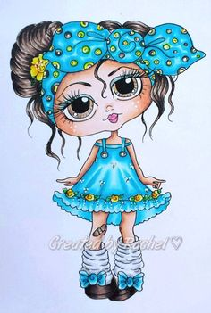 INSTANT DOWMLOAD Digital Digi Stamps Big Eye Big Head Dolls Digi Sophia Named…
