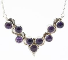 .925 Sterling Silver V Shaped Round Amethyst Stone Chain Necklace (21.6g)