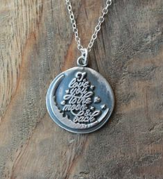 I love you to the moon and back wax seal fine silver pendant sterling silver necklace by ALMrozarka on Etsy Sterling Silver Necklaces, Silver Jewelry, Handmade Jewelry, Unique Jewelry, Silver Charms, Pendant, History, Moon, Etsy