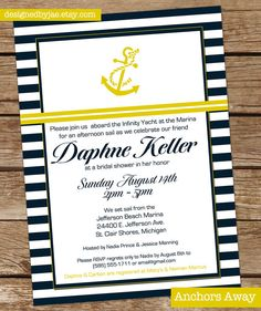Anchors Away - Bridal shower Invitation, Luncheon, Summer Party, Birthday Party, Nautical Theme