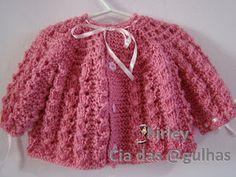 Cia das Agulhas: Casaquinho de Tricô Baby2 - Pink