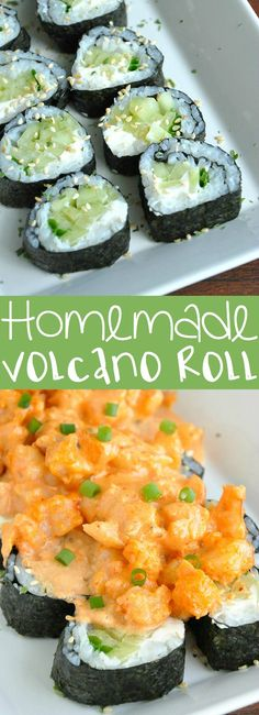 Whip up this delicious sushi restaurant copycat at home! The spicy sriracha shrimp and cool cucumber in this Homemade Volcano Roll are a match made in heaven. Let's make some sushi rolls! Sushi Restaurants, Healthy Diet Recipes, Cooking Recipes, Onigirazu, Sushi Party, Sushi Sushi, Salmon Sushi, Sushi Night, Health Foods