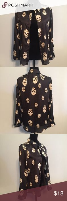 """Paper Heart Sz 8 Button Down Studded Skull Blouse NWOT lightweight long sleeve button down top by Paper Heart. Excellent condition, size 8 and measures:  18"""" pit to pit  24"""" length   Ships next business day after payment is received.  Sorry no refunds/returns   Please visit my other listings:) Paper Heart Tops Button Down Shirts"""