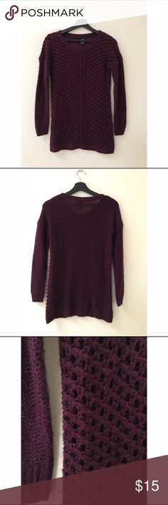 Rue 21 Loose Knit Sweater Size: Small (would fit XS best) Materials: 100% Acrylic Measurements: 29 inches Long, 16 inches Wide, 19 inches Sleeve Length Notes: Pre loved, great condition Rue 21 Sweaters Crew & Scoop Necks