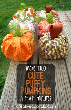 Super Fast and Easy Puffy Pumpkins. no-sew, no-glue fall decor Theme Halloween, Holidays Halloween, Halloween Crafts, Halloween Ideas, Autumn Crafts, Holiday Crafts, Harvest Crafts, Holiday Fun, Holiday Ideas
