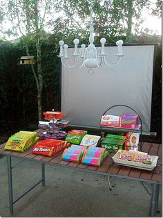 "DRIVE IN ""movie night"" in yard! Snack Bar - fun older birthday party or date night Backyard Movie Nights, Outdoor Movie Nights, Movie Night Party, Party Time, 16th Birthday, Birthday Parties, Birthday Ideas, Teen Parties, Teen Birthday"