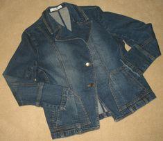 Jones New York Womens Size Small Jean Jacket Factory Faded Asymmetrical Cool Jackets, Jean Jackets, Jackets For Women, Love Jeans, Linen Blouse, Corduroy Jacket, Sweater Set, Plaid Blazer, York