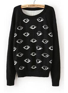 NEW Distinctive New Arrival Retro Loose Round Neckline Jacquard Eye Sweater $27.99